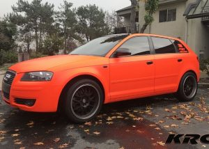 Audi Wrapped in 3M Satin Neon Fluorescent Orange Vinyl