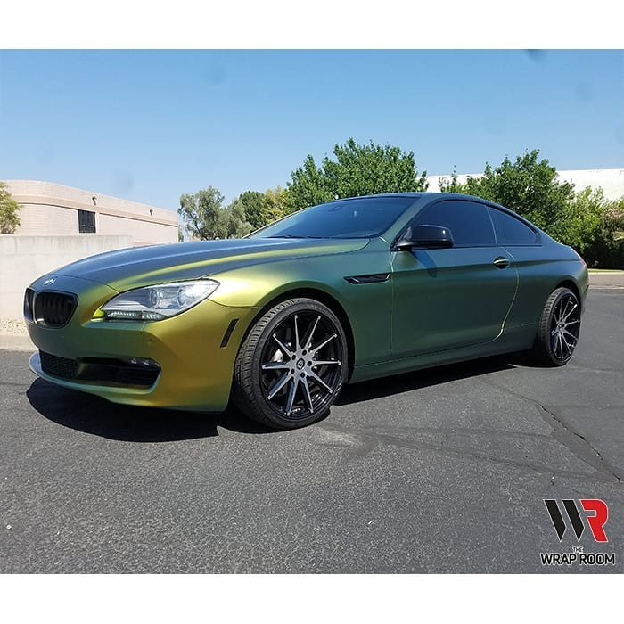 BMW 640i Wrapped in Avery ColorFlow Satin Fresh Spring GoldSilver Shade Shifting Vinyl