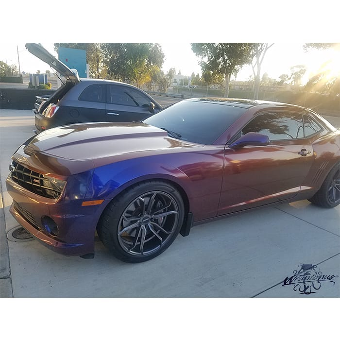 Chevrolet Camaro Wrapped in Avery ColorFlow Gloss Roaring Thunder BlueRed Shade Shifting Vinyl