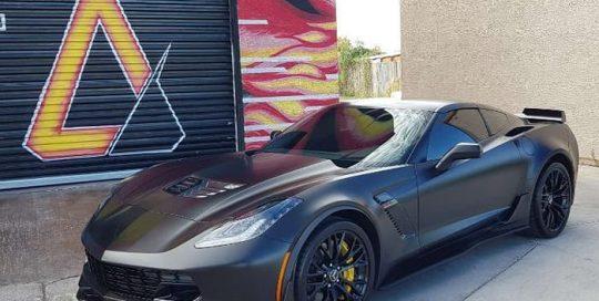 Chevrolet Corvette Wrapped in 3M 1080 Satin Black Vinyl