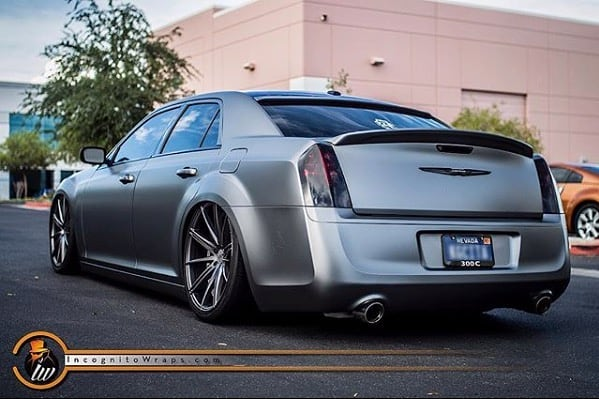 Chrysler 300C Wrapped in Orafol 970RA Matte Graphite Metallic Vinyl