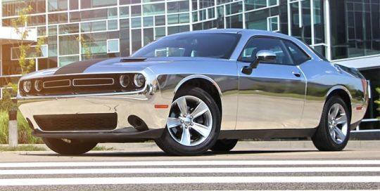 Dodge Challenger Wrapped in 3M 1080 Gloss Silver Chrome Vinyl