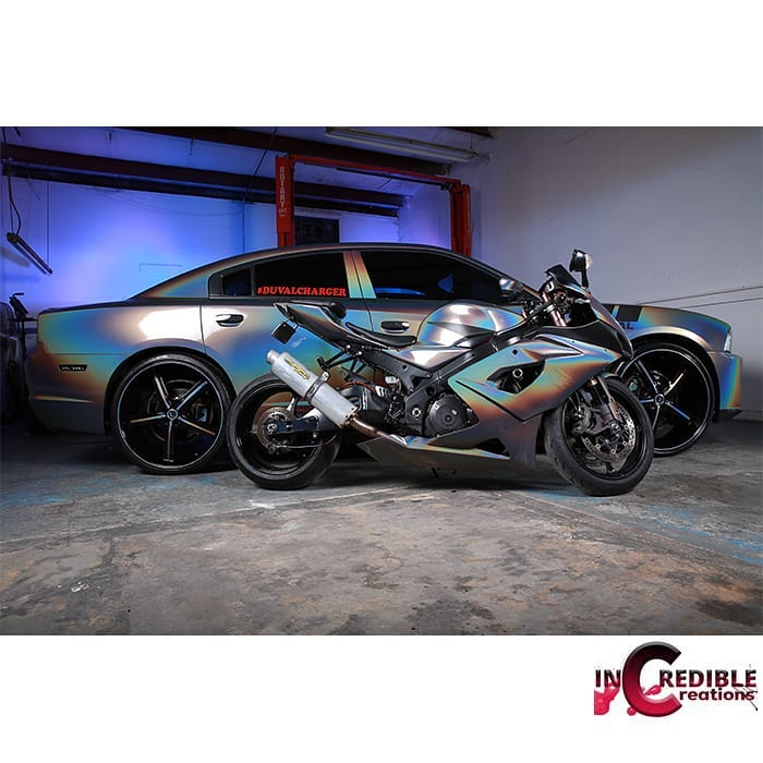 Dodge Charger and Motorcycle Wrapped in 3M Gloss ColorFlip Psychedelic Shade Shifting Vinyl