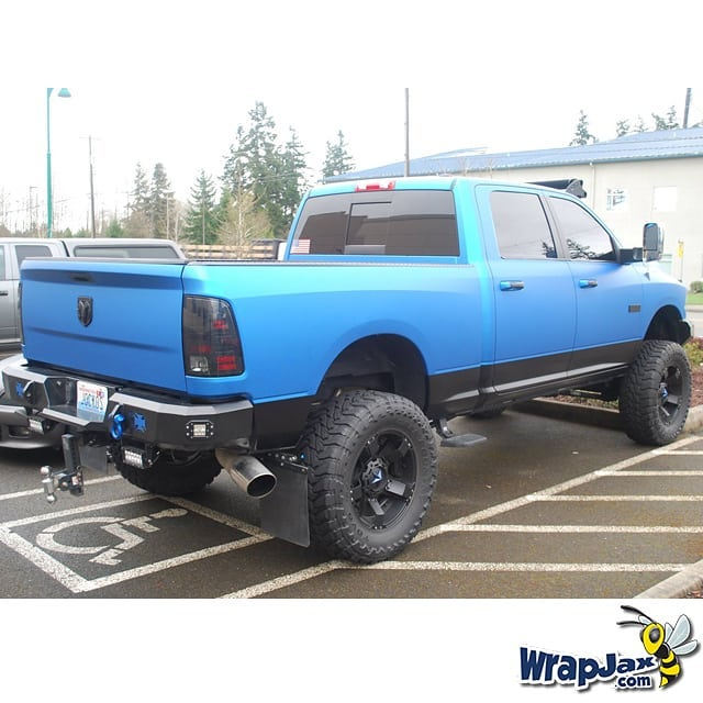 Dodge Ram Wrapped in 3M 1080 Matte Blue Metallic and Satin Black Vinyls