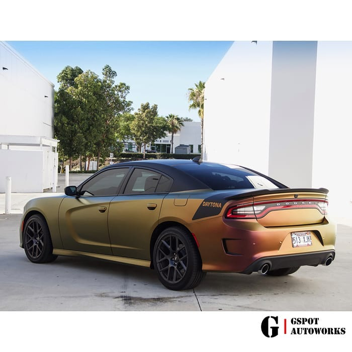 Dodge Wrapped in Avery ColorFlow Satin Rising Sun RedGold Shade Shifting Vinyl