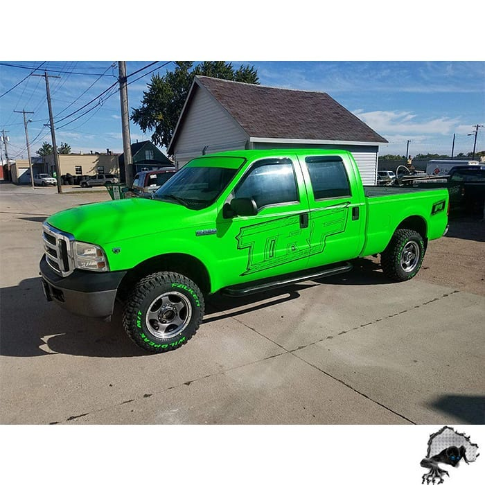 Ford F250 Wrapped in Satin Neon Fluorescent Green Vinyl