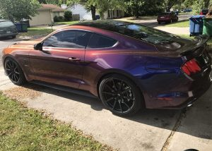 Ford Mustang Wrapped in Avery ColorFlow Gloss Roaring Thunder BlueRed Shade Shifting Vinyl