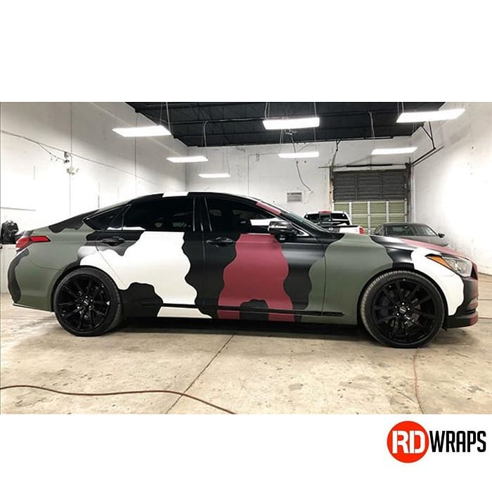 Genesis G80 Wrapped in Avery SW900 Matte Garnet Metallic,Satin Black, Satin White and 3M Matte Military Green Vinyls
