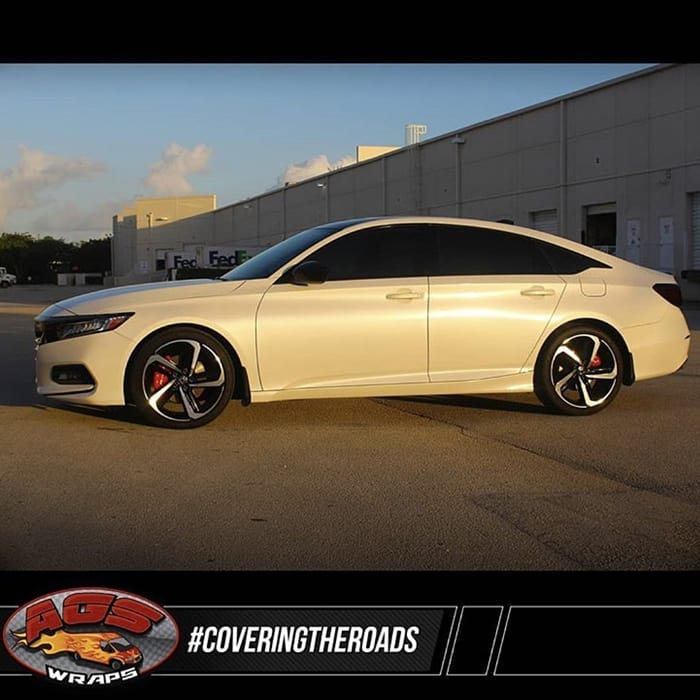 Honda Accord Wrapped in Avery SW Satin Pearl White Vinyl