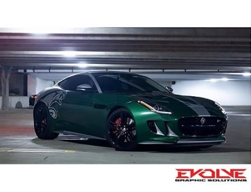 Jaguar F-Type Wrapped in Custom Printed 3M IJ180mC-120 Metallic Satin White Aluminum Vinyl and 8518 Gloss Laminate