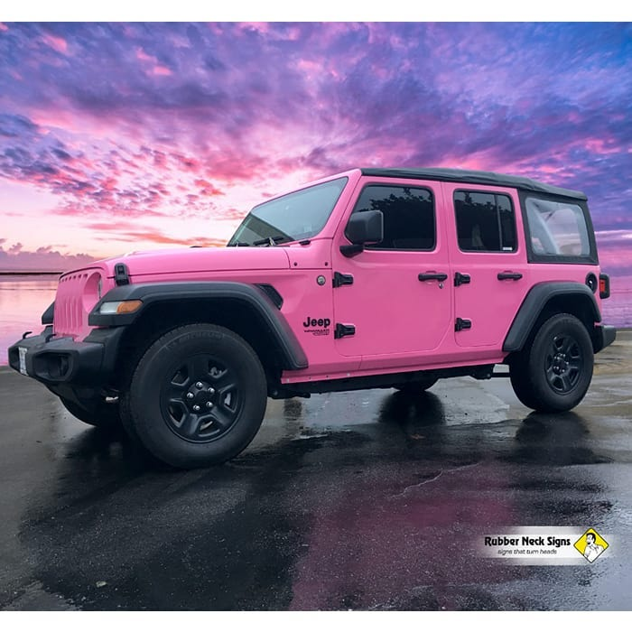 Jeep Wrangler Wrapped in 3M 1080 Gloss Hot Pink Vinyl