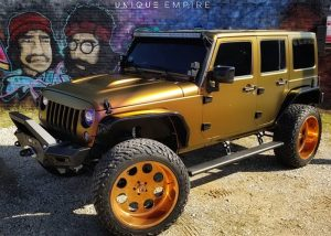 Jeep Wrangler Wrapped in Avery ColorFlow Satin Rising Sun RedGold Shade Shifting Vinyl