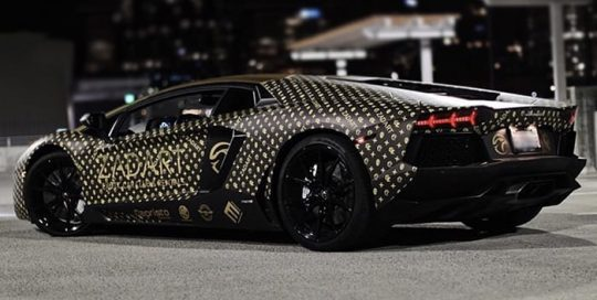 Lamborghini Aventador Wrapped in Custom Printed Avery 1105 EZRS and 108oz Matte Laminate