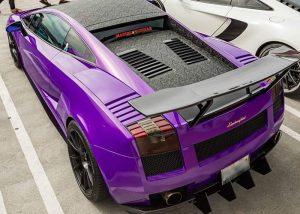 Lamborghini Gallardo Wrapped in 3M 1080 Gloss Plum Explosion and Shadow Black Vinyls