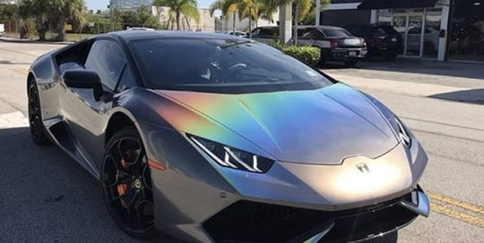 Lamborghini Huracan Wrapped in 3M ColorFlip Gloss Psychedelic Shade Shifting Vinyl
