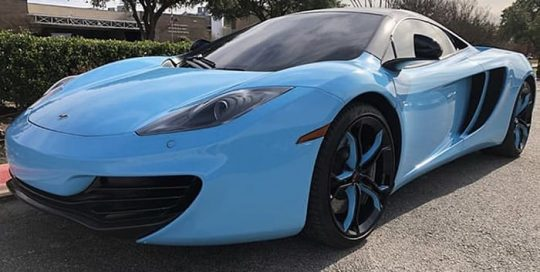 McLaren MP4-12C Wrapped in 3M 1080 Gloss Sky Blue Vinyl