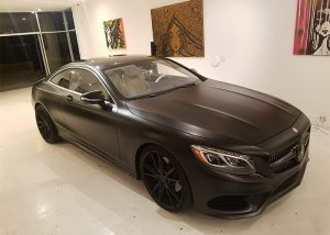 Mercedes-Benz S550 Wrapped in 3m 1080 Satin Black Vinyl