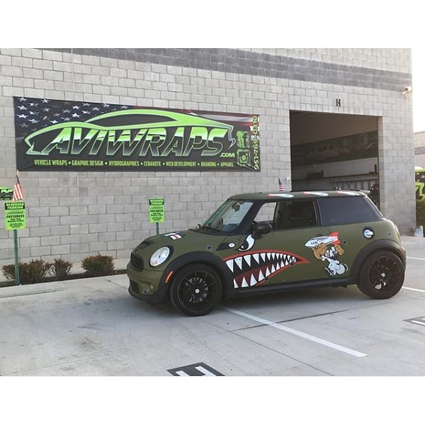 Mini Cooper Wrapped in Custom Printed Avery 1105 Vinyl with 138oz Matte Overlaminate