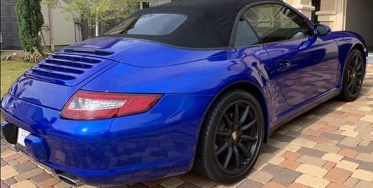 Porsche Carrera Wrapped in 3M 1080 Gloss Cosmic Blue Vinyl
