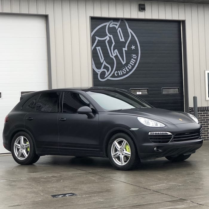 Porsche Cayenne Wrapped in 3M 1080 Satin Black Vinyl