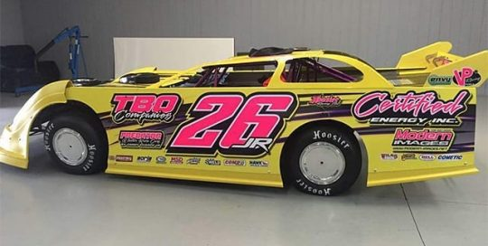 Race Car Wrapped in Custom Printed Orafol 3165RA and 210 Gloss Laminate with 6510 Fluorescent Pink Vinyl