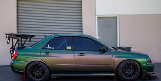 Subaru WRX Wrapped in Avery Satin Urban Jungle SilverGreenPurple Shade Shifting Vinyl