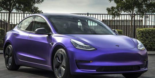 Tesla Model3 Wrapped in Avery SW Satin Purple Metallic & Satin Black Vinyls
