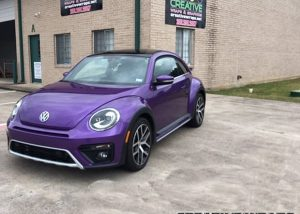 Volkswagen Beetle Wrapped in Orafol 970RA Gloss Violet Metallic Vinyl