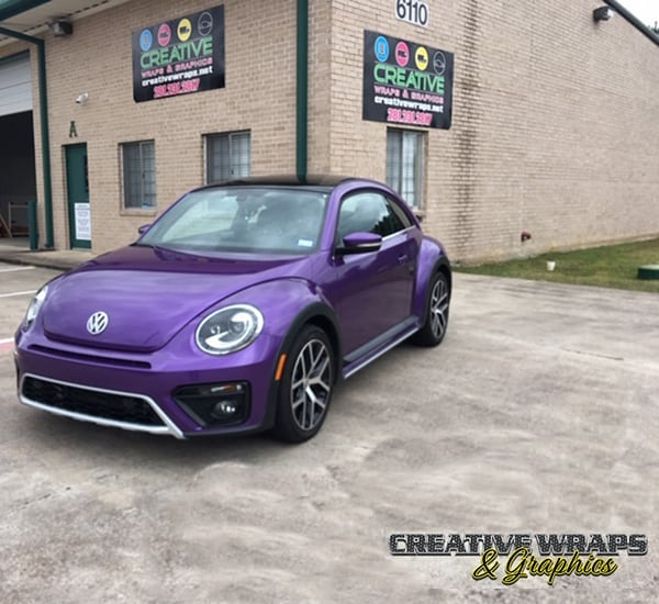 Volkswagen Beetle Wrapped in Orafol 970RA Gloss Violet Metallic Vinyl