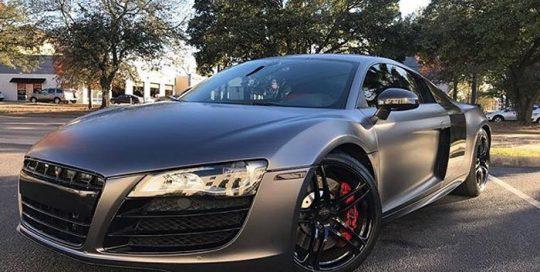 Audi wrapped in 3M 1080 Satin Dark Gray vinyl