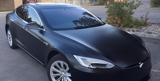 tesla wrapped in 3M 1080 Satin Black vinyl