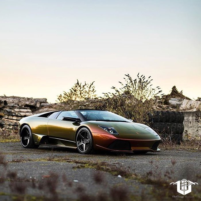 Lamborghini wrapped in Avery ColorFlow Rising Sun Red/Gold shade shifting vinyl
