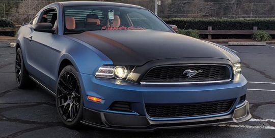Ford Mustang wrapped in in Avery SW Matte Blue Metallic vinyl