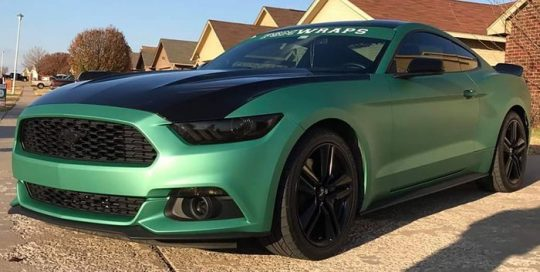 Ford Mustang wrapped in Avery SW Matte Emerald Metallic vinyl
