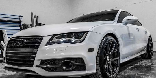 Audi wrapped in Avery SW Gloss White vinyl