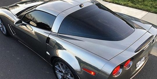 Corvette wrraped in Avery SW Black Chrome vinyl