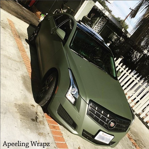 Cadillac Ats Wrapped In 3M 1080 Matte Military Green Vinyl