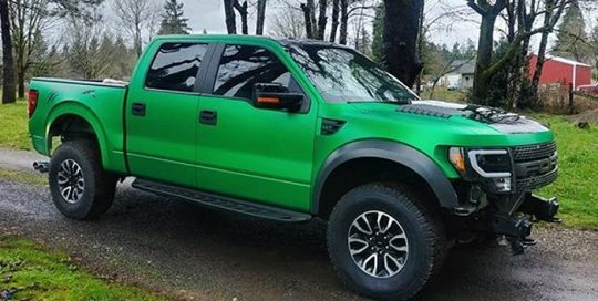 Ford Raptor wrapped in 3M 1080 Satin Sheer Luck Green vinyl