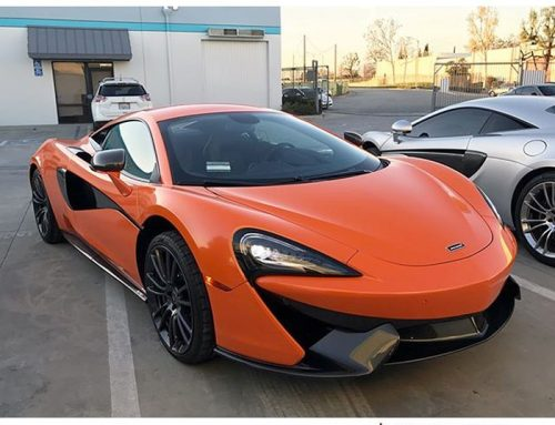 Mclaren 570s wrapped in 3M 1080 Gloss Burnt Orange vinyl