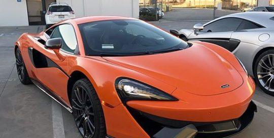 Mclaren 570s wrapped in 3M 1080 Gloss Burnt Orange vinyl
