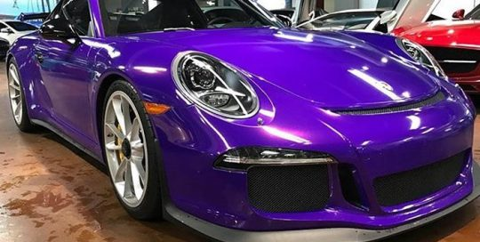 Porsche Gt3 wrappped in 3M 1080 Gloss Plum Explosion vinyl