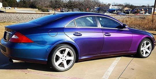 Mercedes Benz wrapped in Avery ColorFlow Gloss Rushing Riptide Cyan/Purple shade shifting vinyl