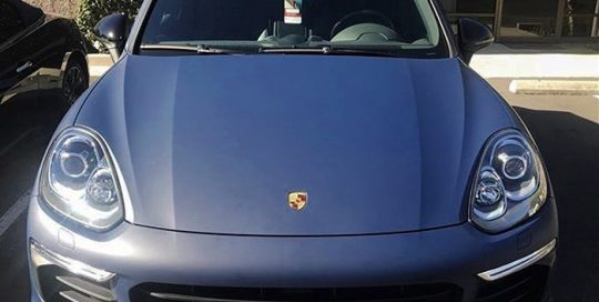 Porsche cayenne wrapped in 3M 1080 Matte Indigo Blue vinyl