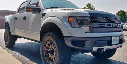 Ford Raptor wrapped in 3M 1080 Satin Battleship Gray vinyl