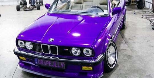 Bmw wrapped in 3M 1080 Gloss Plum Explosion vinyl