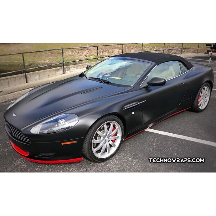 Aston Martin Db9 wrapped in Avery SW Satin Black and Gloss Carmine Red vinyls