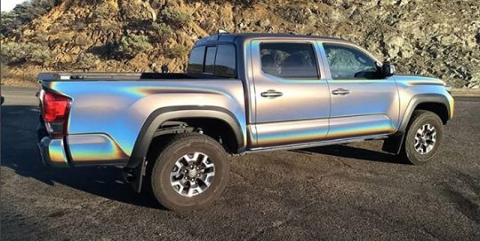 Toyota Tacoma wrapped in 3M ColorFlip Gloss Psychedelic shade shifting vinyl