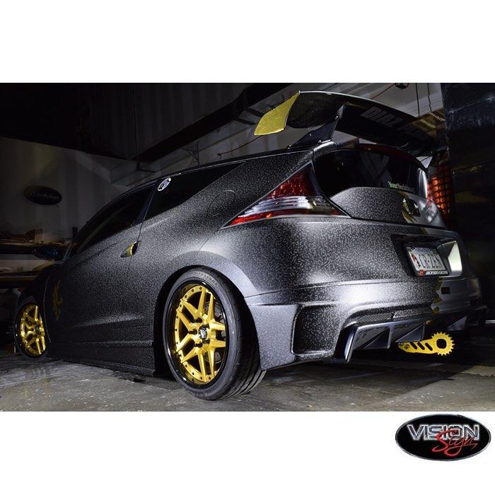 Honda Crz wrapped in Orafol 975 Textured Black Honeycomb and Arlon Gold Chrome vinyls