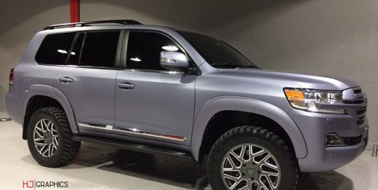 Toyota Land Cruiser wrapped in M 1080 Matte Silver Vinyl