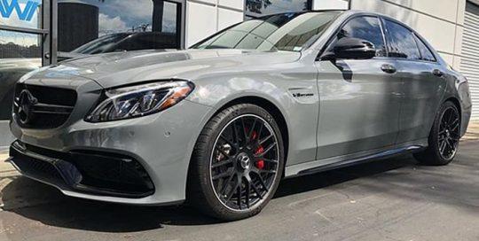 Mercedes Benz C63 wrapped in Avery SW Gloss Dark Grey vinyl